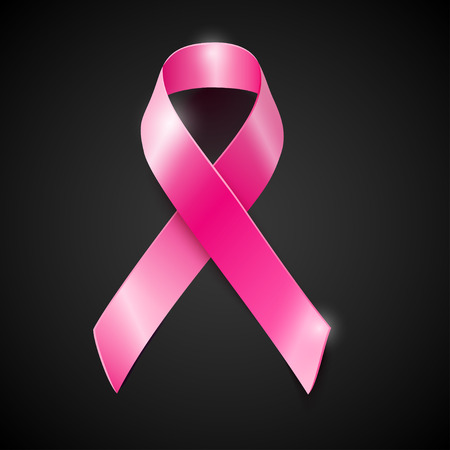 female breast: Realistic vector pink ribbon, breast cancer awareness symbol, isolated on black. Illustration