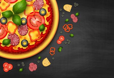 Realista receta vector de pizza o un fondo negro menú. Pizza con los tomates y los salchichones en la pizarra