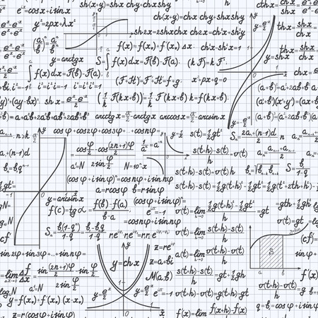 theorem: Mathematical vector seamless pattern background with formulas, equations and figures, handwritten in a notebook Illustration