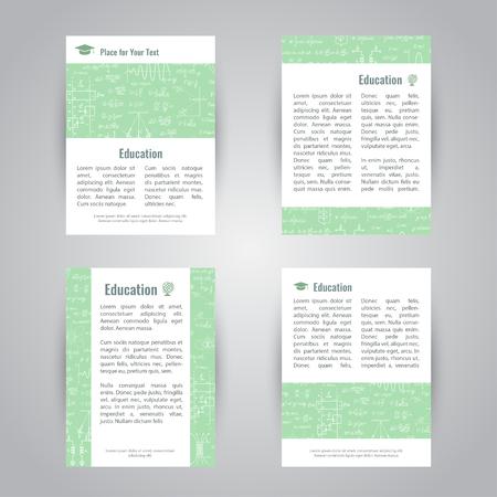 educacion fisica: Conjunto de banderas del vector educativas con fórmulas físicas y matemáticas y figuras. compañía de ciencias de fondo campus universitario Vectores