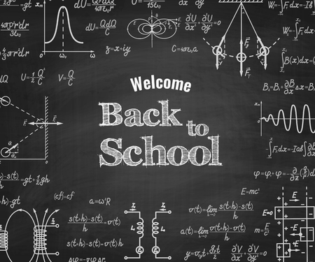 mathematical proof: Welcome back to school with physics formulas and figure on school blackboard on backgound. School education vector background