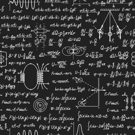 trigonometry: Physical vector seamless pattern with formulas, equations and figures, handwritten on a blackboard seamless design Illustration