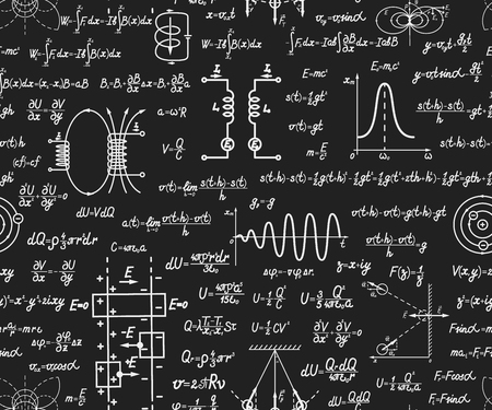 equations: Physical vector seamless pattern with formulas, equations and figures, handwritten on a blackboard seamless design Illustration