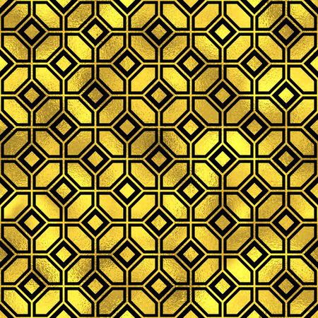 tiles floor: Seamless vintage pattern. Golden vector textured fashion background