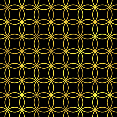 Abstract seamless pattern in Arabian style. Vector golden fashion background, gold on blach oriental ornament Vector Illustration