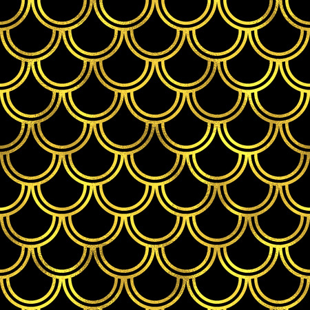 snake skin pattern: Abstract seamless scaled pattern with golden scales. Vector art deco fashion background, gold on blach oriental seamless ornament