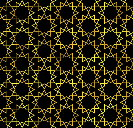 arabian: Abstract seamless pattern in Arabian style. Vector golden fashion background, gold on blach oriental ornament