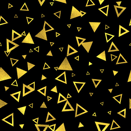 abstract seamless: Abstract seamless pattern with golden triangles. Vector gold and black seamless fashion background