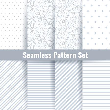 vecteur Seamless défini. Résumé géométrique gris subtile seamless fond. Patterns avec des cercles, des lignes et des points de polka ornement Vecteurs