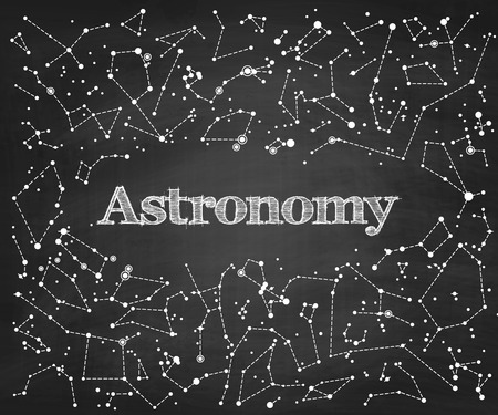astronomie: Constellations Vektor-Muster mit Wort Astronomie. Wissenschaftliche Vektor Schule Tafel Hintergrund