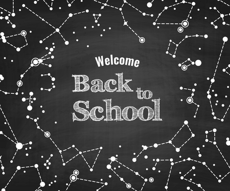 costellazioni: Constellations vector pattern with words Back to School on blackboard. Scientific vector background Vettoriali
