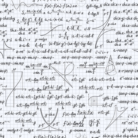 mathematical proof: Mathematical vector seamless pattern background with formulas, equations and figures, handwritten in a squared notebook