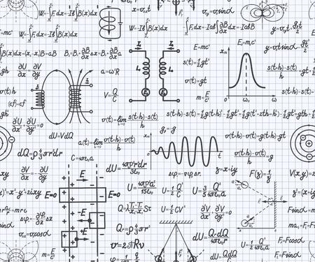 vecteur physique seamless avec des formules, des équations et des chiffres, manuscrite sur une feuille quadrillée de l'ordinateur portable