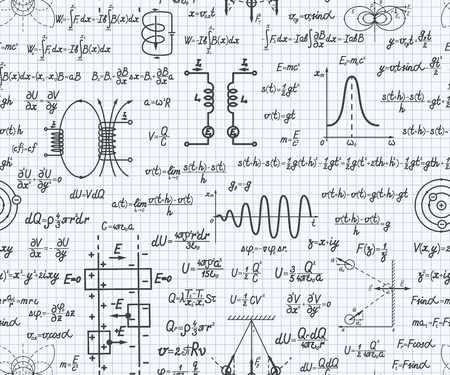 Physical vector seamless pattern with formulas, equations and figures, handwritten on a squared sheet of notebook Vettoriali