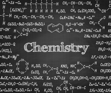 organic chemistry: Welcome back to school with chemical formulas and figure on school blackboard on background. School chemistry education vector textured background Illustration