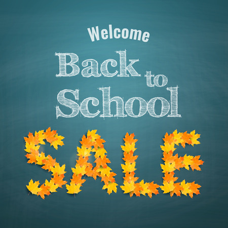 special education: Autumn maple leaves arranged in word sale on chalkboard background. Back to school sale banner