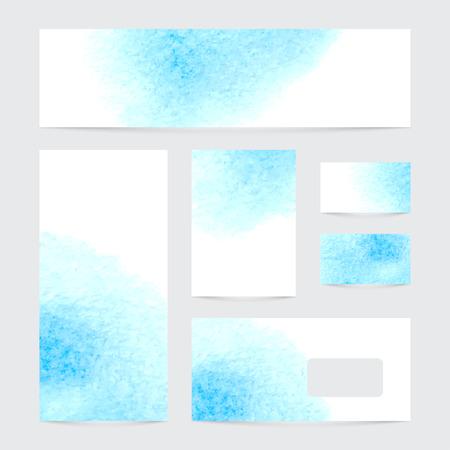 벡터 수채화 스플래시와 배너의 집합입니다. 블루 수채화 디자인 명함 설정