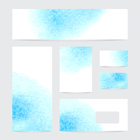 Vector set of banners with watercolor splash. Blue watercolour design business cards set