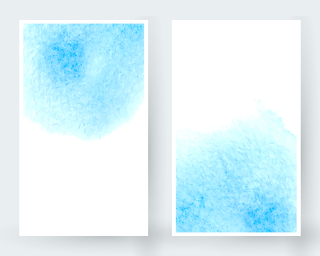 Vector set of banners with watercolor splash. Blue watercolour design cards set