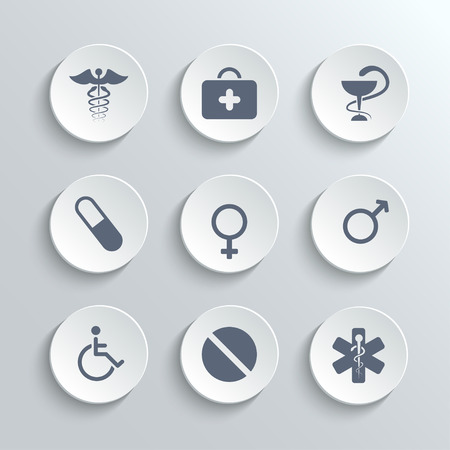 white pills: Medical icons set - vector white round buttons with first aid kit caduceus pills man woman gender and disabled symbols Illustration