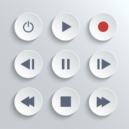 icon buttons: Media player control ui icon set- vector white round buttons