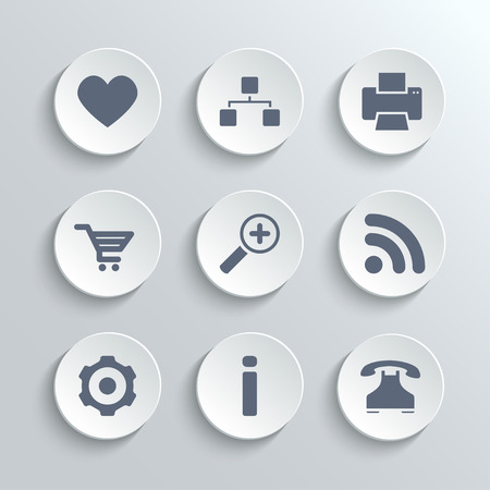 heart gear: Web icons set - vector white round buttons with heart follow printer sitemap shopping cart zoom rss settings gear information telephone