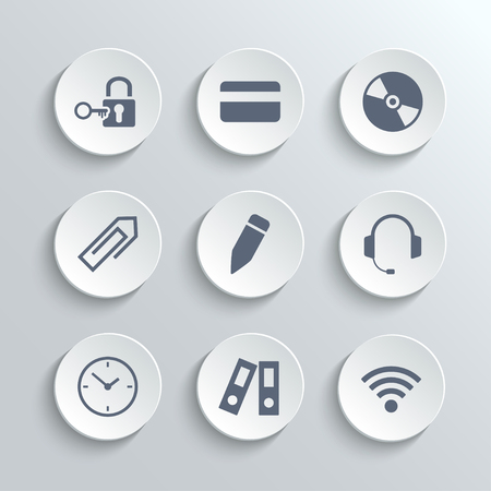 key lock: Office icons set - vector white round buttons with lock key credit card disk clip pen headphones clock folder wifi zone Illustration