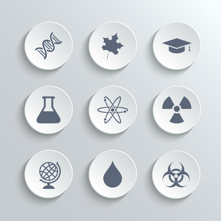 biology: Science icons set - vector white round buttons with dna maple leaf graduation cap atom radioactivity bio hazard laboratory bulb globe drop water Illustration