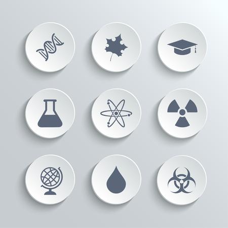 radioactivity: Science icons set - vector white round buttons with dna maple leaf graduation cap atom radioactivity bio hazard laboratory bulb globe drop water Illustration
