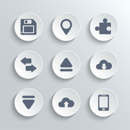 Web icons set - vector white round buttons with pin puzzle synchronization up down arrows cloud download upload phone diskette Illustration
