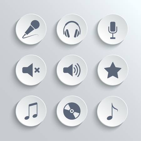 mute: Media icons set - vector white round buttons with microphone retro classic headphones mute volume star music note disc