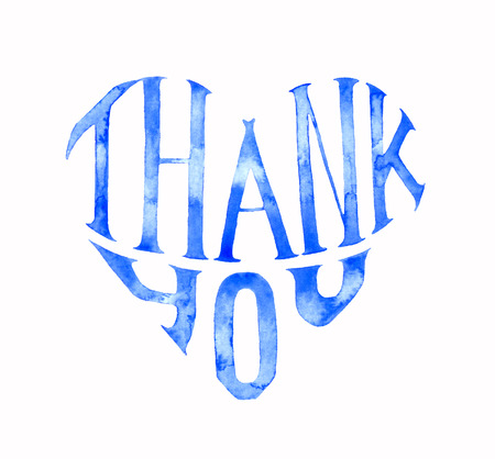 Watercolor Thank you lettering heart shape isolated on white background. Blue hand writting greeting card