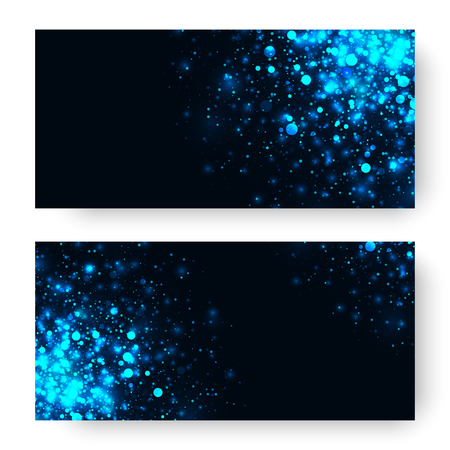 black blue: Vector blue glowing light glitter abstract background. Magic glow light effect. Star burst with sparkles on black background. Christmas or new year banners set