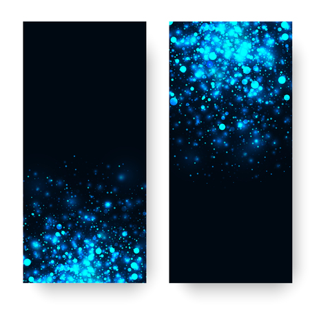 벡터 파란색 빛나는 빛 반짝이 추상적 인 배경입니다. 매직 조명 효과 노을. 스타 검은 배경에 반짝 버스트. 크리스마스 또는 새 해 배너 설정