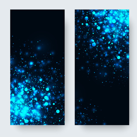 black magic: Vector blue glowing light glitter abstract background. Magic glow light effect. Star burst with sparkles on black background. Christmas or new year banners set