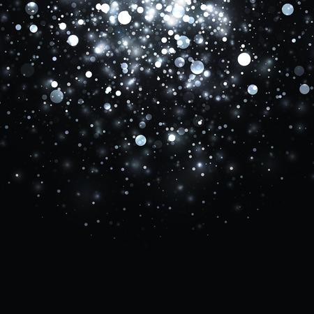벡터 실버 빛나는 빛 반짝이 배경입니다. 크리스마스 화이트 마술 조명 배경입니다. 검정색 배경에 반짝임으로 스타 버스트 일러스트