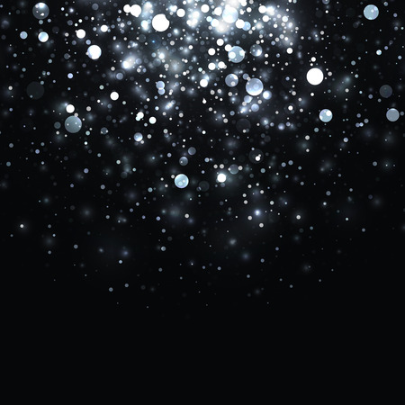 Vector silver glowing light glitter background. Christmas white magic lights background. Star burst with sparkles on black background