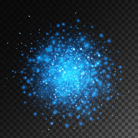 Vector magic blue glow light effect isolated on transparent background. Christmas design element. Star burst with sparkles