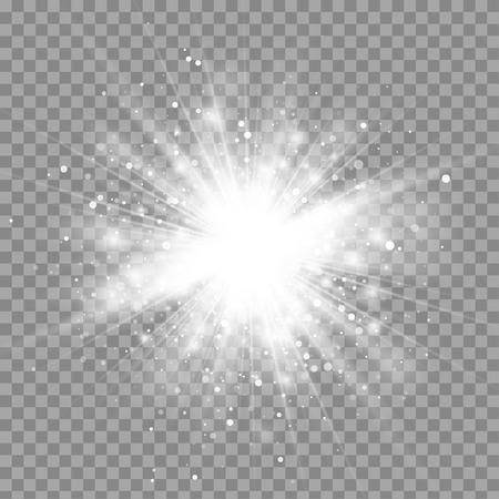 벡터 마법의 흰색 광선 빛 조명 효과는 투명한 배경에 고립입니다. 크리스마스 디자인 요소입니다. 스타 반짝 버스트 일러스트