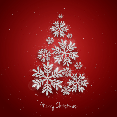 christmass: Vector Christmas New Year greeting card with sparkling glitter golden textured snowflakes make Christmas tree shape on red background. Seasonal holidays background Illustration