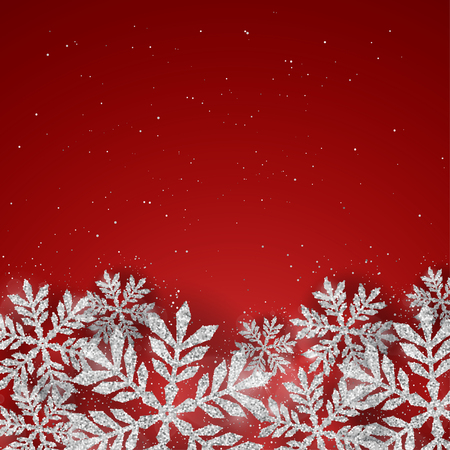 Vector Christmas New Year greeting card with sparkling glitter silver textured snowflakes on red background. Seasonal holidays background