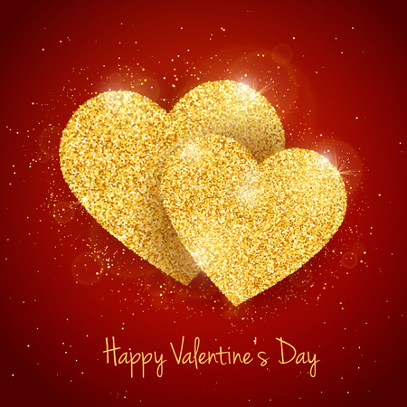 seasonal symbol: Vector Happy Valentines Day greeting card with 2 sparkling glitter gold textured hearts on red background. Seasonal holidays background with love symbol