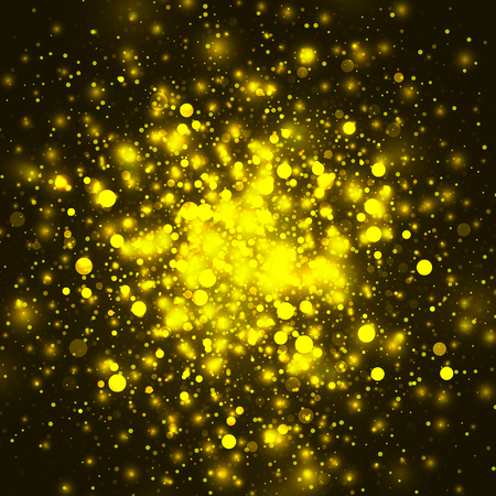 christmas star background: Vector gold glowing light glitter background. Christmas golden magic lights background. Star burst with sparkles on black background