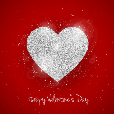 seasonal symbol: Vector Happy Valentines Day greeting card with sparkling glitter silver textured heart on red background. Seasonal holidays background with love symbol Illustration