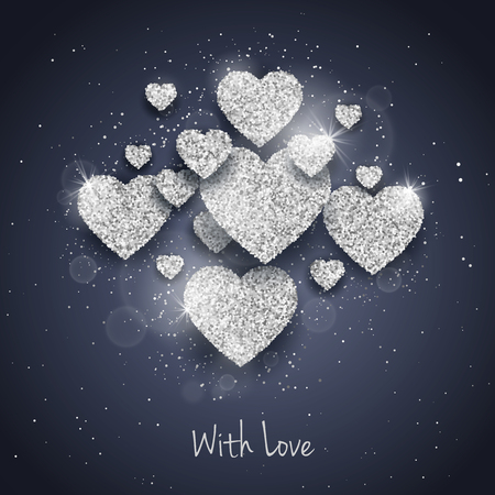 seasonal symbol: Vector Happy Valentines Day greeting card with sparkling glitter silver textured hearts. Seasonal holidays background. Love Symbol background