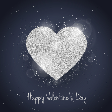 heart background: Vector Happy Valentines Day greeting card with sparkling glitter silver textured heart. Seasonal holidays background. Love Symbol Illustration