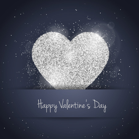 seasonal symbol: Vector Happy Valentines Day greeting card with sparkling glitter silver textured heart. Seasonal holidays background. Love Symbol background