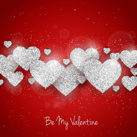 seasonal symbol: Vector Happy Valentines Day greeting card with sparkling glitter silver textured heart on red background. Seasonal holidays background with love symbol Stock Photo
