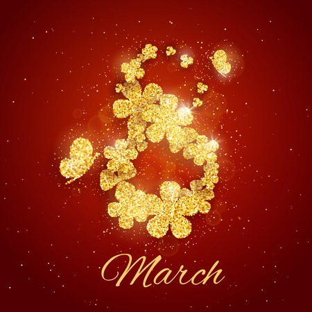 Vector Happy Womens Day greeting card with sparkling glitter flower gold textured figure eight on red background. 8 march luxury background Illustration