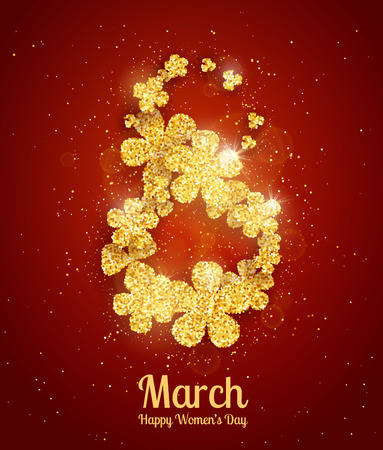 red gold: Vector Happy Womens Day greeting card with sparkling glitter flower gold textured figure eight on red background. 8 march luxury background Illustration